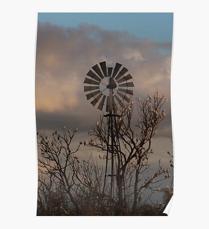 Windmill and Wildlife Poster