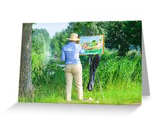 Paintress of Flemish summer landscape at work in the field Greeting Card