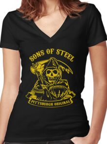 Son Of Steels Pittsburgh Steelers Women's Fitted V-Neck T-Shirt