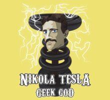 Nikola Tesla: Geek God Kids Clothes