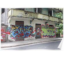 Graffiti piece with Deez Poster