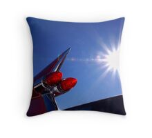 Red Cadillac Fin and Solar Flare Throw Pillow
