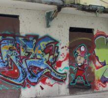 Graffiti piece with Deez Sticker