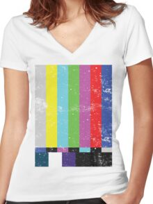 TV test Lines  Women's Fitted V-Neck T-Shirt