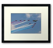 A 5 Sqn Sentinel leads the Red Arrows Framed Print
