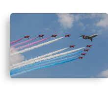 A 5 Sqn Sentinel leads the Red Arrows Canvas Print