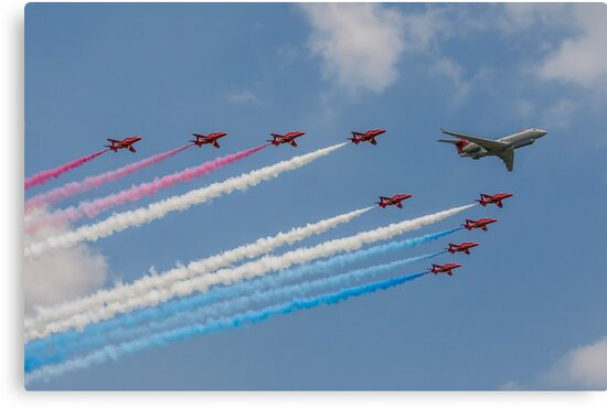 A 5 Sqn Sentinel leads the Red Arrows by Colin Smedley