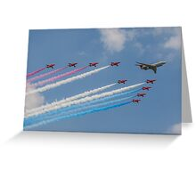A 5 Sqn Sentinel leads the Red Arrows Greeting Card