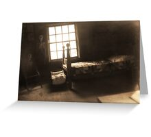 Creepy Abandoned Haunted Cabin Bedroom Greeting Card