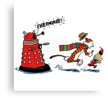 Calvin And Hobbes Dr who Canvas Print