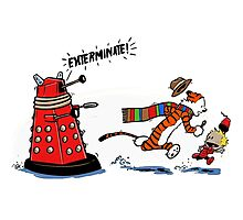 Calvin And Hobbes Dr who Photographic Print