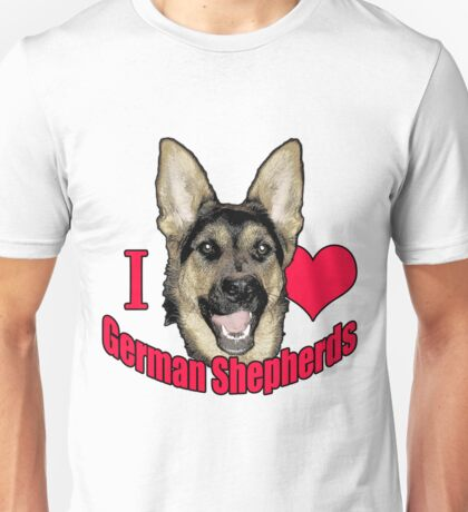 I Hart German Shepherds Unisex T-Shirt