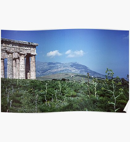 Segesta Greek Temple and mountain 19840325 0042m Poster
