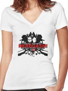 Nerdgasm Central Logo Women's Fitted V-Neck T-Shirt