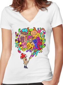 Mushroom Jizz Women's Fitted V-Neck T-Shirt