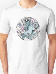 Flight of Fancy – pink, teal, cream Unisex T-Shirt
