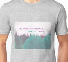"""""""Dreamland Forest"""" - Woodland Purple Teal Woods Dreamy Dream Evergreen Trees Into the Wild Unisex T-Shirt"""