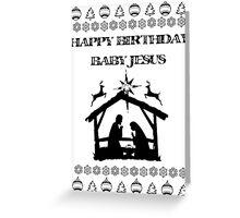 Happy Birthday Baby Jesus Chirstmas themed Xmas Holiday Card Greeting Card
