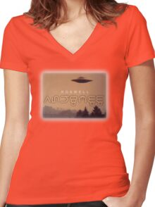 roswell 4 Women's Fitted V-Neck T-Shirt