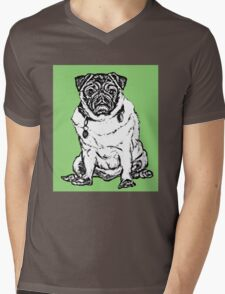 Pug O my Heart Graphic ~ black, white, light green Mens V-Neck T-Shirt