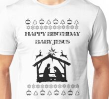 Happy Birthday Baby Jesus Chirstmas themed Xmas Holiday Card Unisex T-Shirt