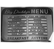 Breakfast anytime, Big Daddy's Diner, NYC Poster