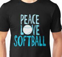 Peace, Love, Softball Unisex T-Shirt