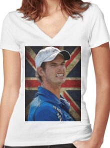 Andy Murray British Flag Women's Fitted V-Neck T-Shirt