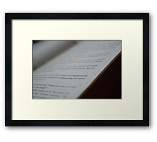 Words on a Page Framed Print