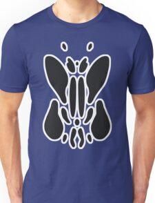 Rorschach Ink Blot Test - White border. Unisex T-Shirt
