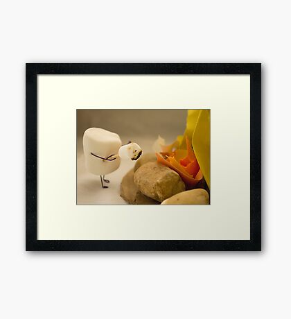 Cannibalism is Sweet - Anthropomorphic Marshmallow Framed Print