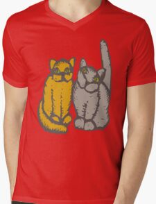 Cats couple - pets, cats, kittens, rescue,  Mens V-Neck T-Shirt