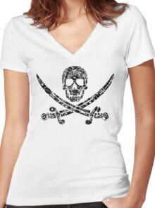 Pirate Service Announcement - Black Women's Fitted V-Neck T-Shirt