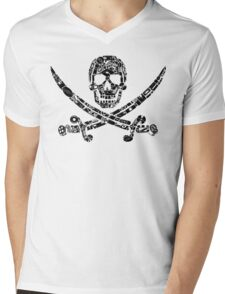 Pirate Service Announcement - Black Mens V-Neck T-Shirt