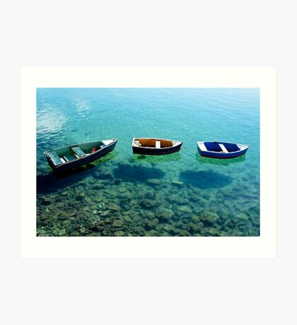 Three boats in Lanzarote Art Print