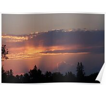 sunset over the trees Poster