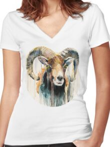 Ram Women's Fitted V-Neck T-Shirt