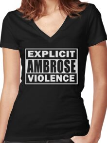 Explict Ambrose Violence Women's Fitted V-Neck T-Shirt