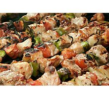 Pork and Vegetable Souvlaki on Grill Photographic Print