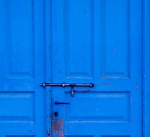 Old Blue Door with Metal Bolt by GysWorks