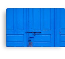 Old Blue Door with Metal Bolt Canvas Print