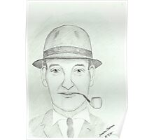 Man smoking pipe wearing a trilby hat Poster