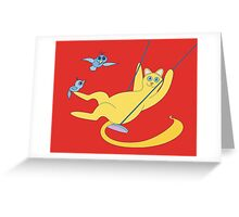 Cat On A Swing Greeting Card