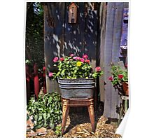 Wash Tub with Posies Poster