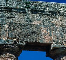 Wall on top of columns temple Segesta Sicily 198403250052 by Fred Mitchell