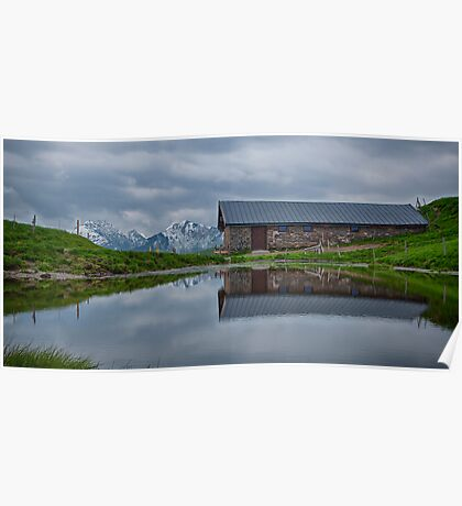 High Pasture Farmhouse Reflected Poster