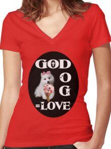❀◕‿◕❀GOD +DOG=LOVE ..TEE SHIRT ❀◕‿◕❀ Women's Fitted V-Neck T-Shirt