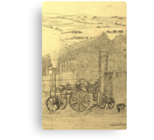 A sepia image of my pencil drawing of Steam Threshing in Yorkshire, England Canvas Print