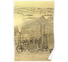 A sepia image of my pencil drawing of Steam Threshing in Yorkshire, England Poster