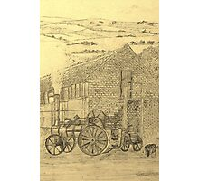 A sepia image of my pencil drawing of Steam Threshing in Yorkshire, England Photographic Print
